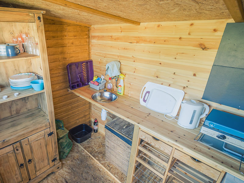 Yurt Kitchenette inside