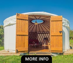 White round luxury glamping yurt in a North Wales campsite