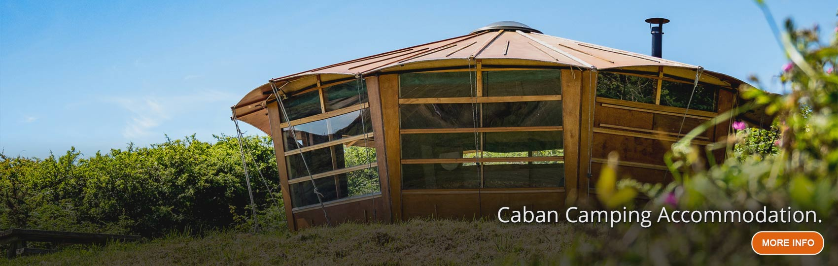 Caban camping hut with large observation windows